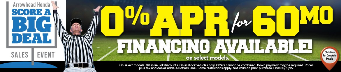 0% APR for 60 Months available on New Honda Models in Peoria, AZ