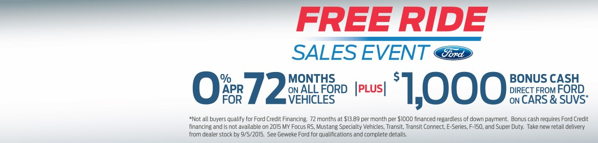 Ford's FREE RIDE Sales Event - August 11 - September 8 2015