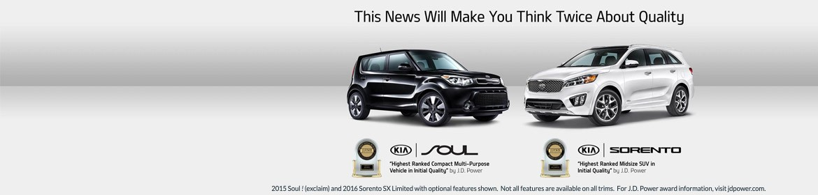 Kia Highest Ranked Compact Multi-Purpose Vehicle in Initial Quality and Highest Ranked Midsize SUV in Initial Qulaity