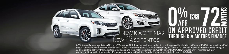 Geweke Kia 0% for 72 months on new Kia Optima's and Kia Sorento's!