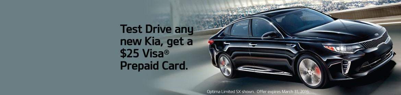 Test Drive any new Kia, get a $25 Visa Prepaid Card!