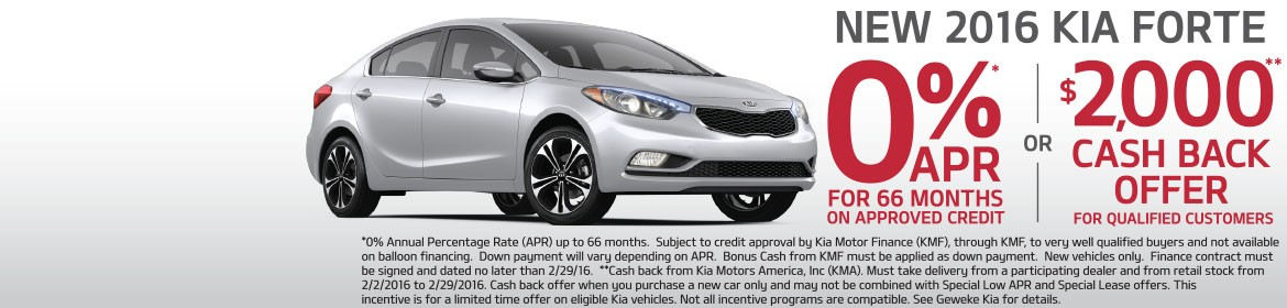 new 2016 Kia Forte - 0% APR for 66 months or $2,000 cash back!