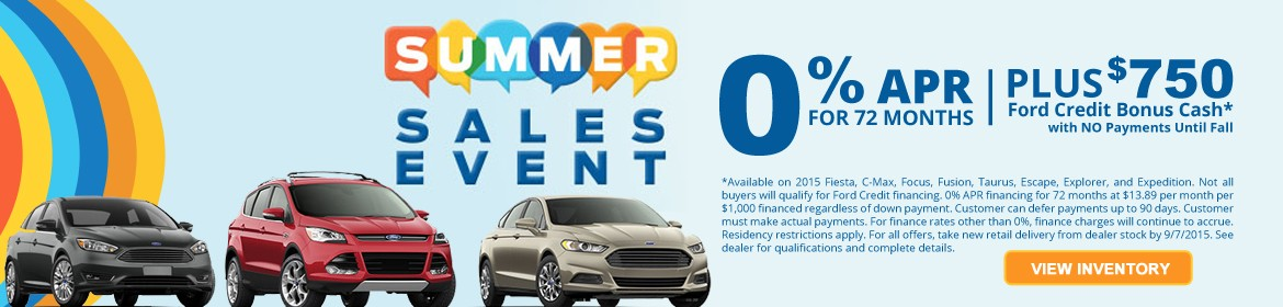 Ford Summer Sales Event - Incentives and Offers on 2015 Ford Models