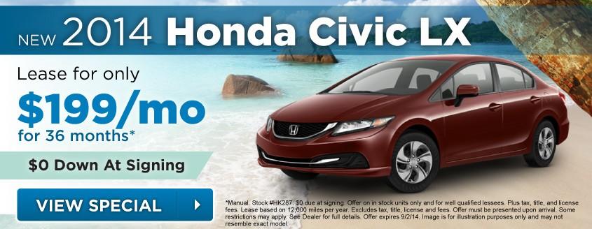 New 2014 Honda Civic Lease Special At Neil Huffman Honda