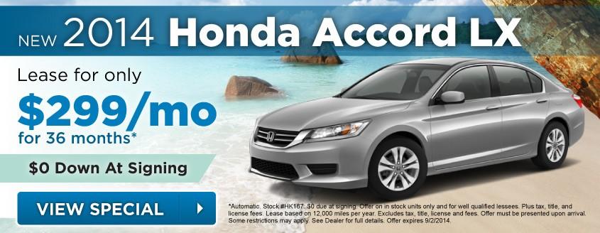 New 2014 Honda Accord Lease Special At Neil Huffman Honda