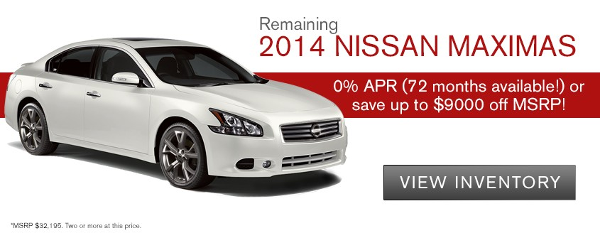 2014 Nissan Maximas Save up to $9000 MSRP