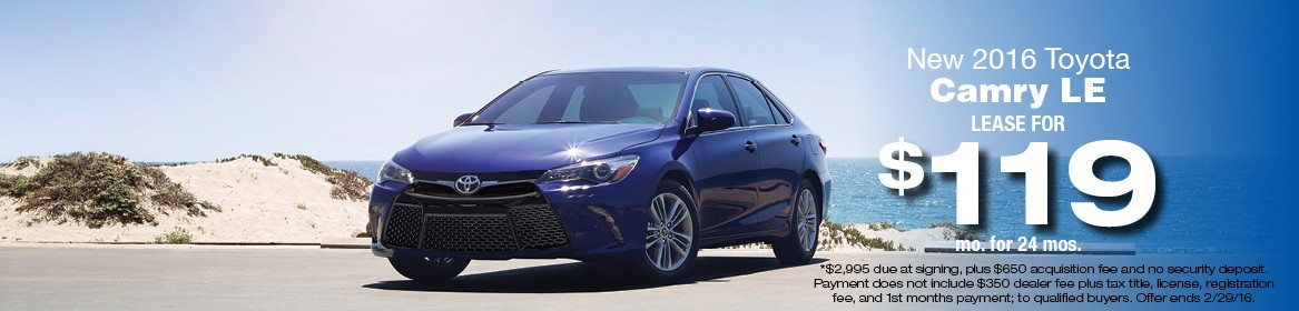 2016 Toyota Camry LE Lease Deal