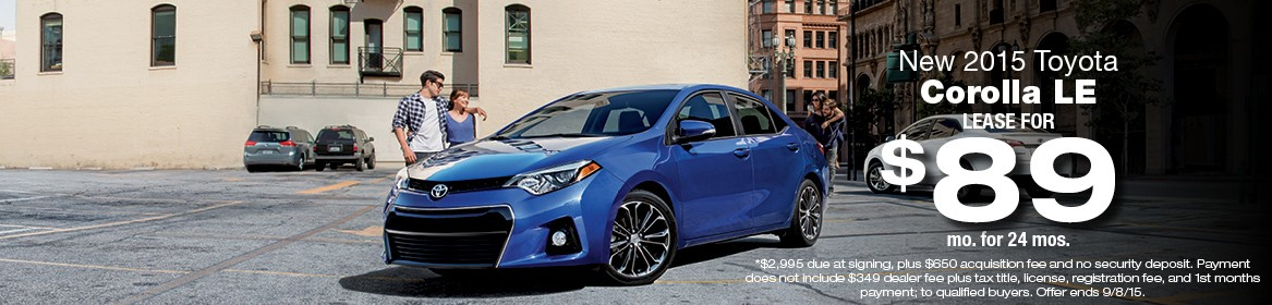 2015 Toyota Corolla LE Lease Deal August