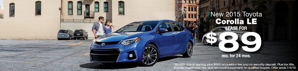 2015 Toyota Corolla Lease Deals June