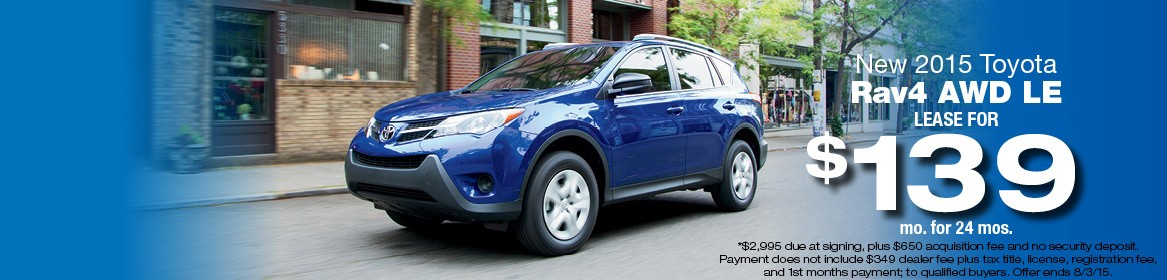 2015 Toyota Rav4 LE Lease Deal July
