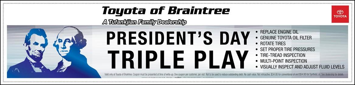 Toyota of Braintree Presidents Day Triple Play