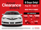 Labor Day Clearance – Camry