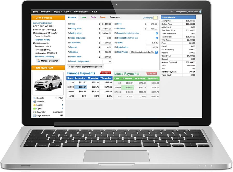 Automotive Web Desking Software