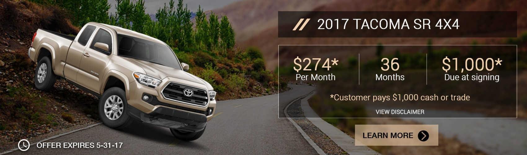 2017 Tacoma SR 4X4 for $274 per month at Beaverton Toyota