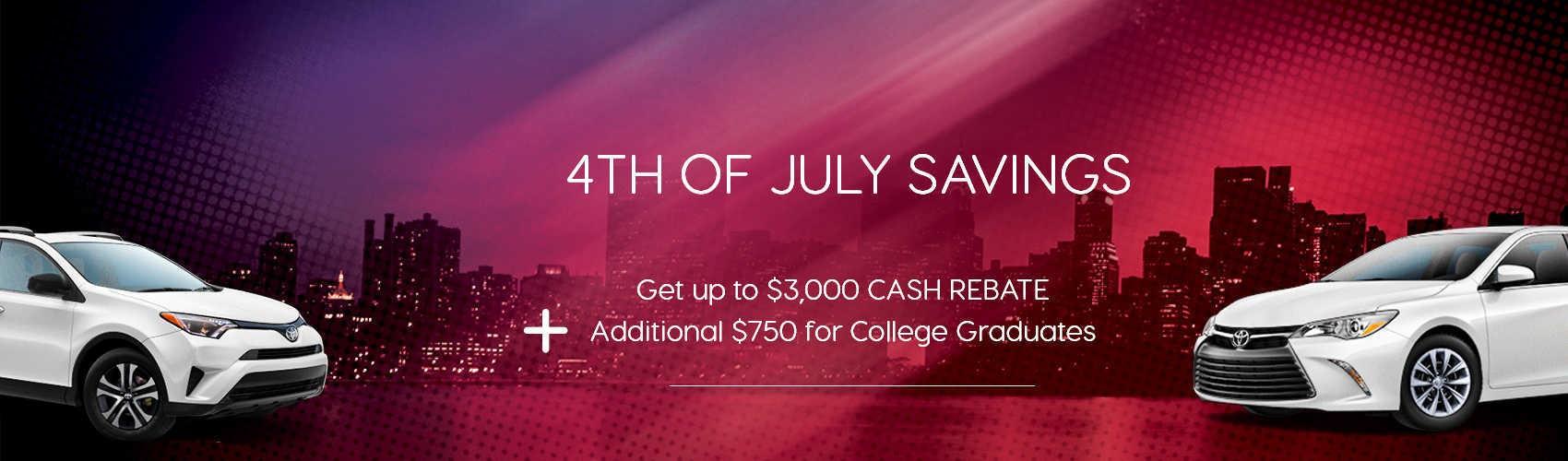 4th of july savings at beaverton toyota. Get up to $3000 rebates
