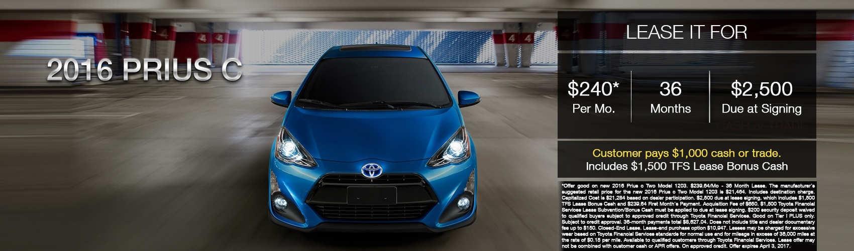 2016 Prius C - Beaverton Toyota  - 240 per month
