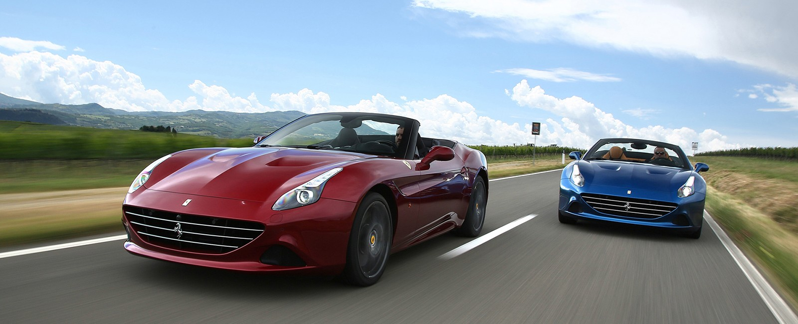 Ferrari California Ts on country road