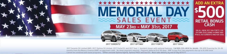Memorial Day Sales Event - Add an extra $500 Retail Bonus Cash!