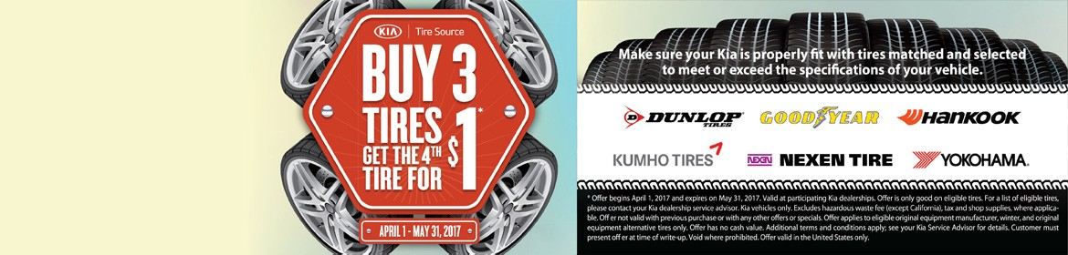 Buy 3 tires, get the 4th for $1 - April 1, may 31, 2017