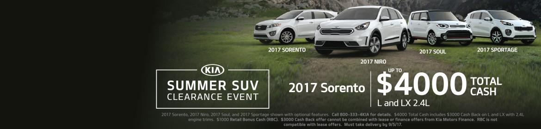 2017 Kia Summer SUV Clearance Event!