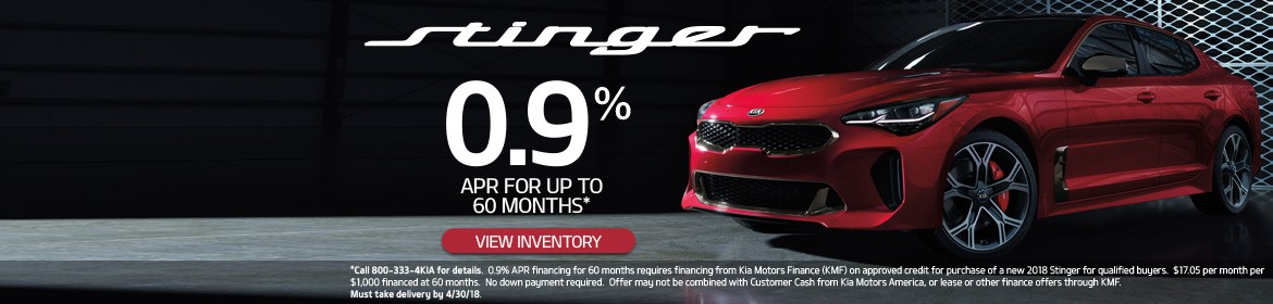 New Kia Stinger 0.9% APR for up to 60 months!