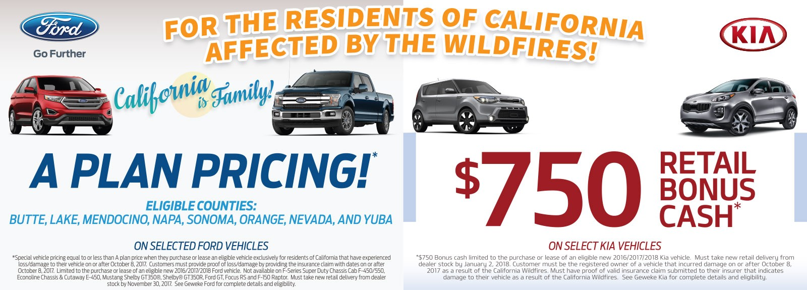Ford and Kia Incentives for the residents of California affected by the wildfires!