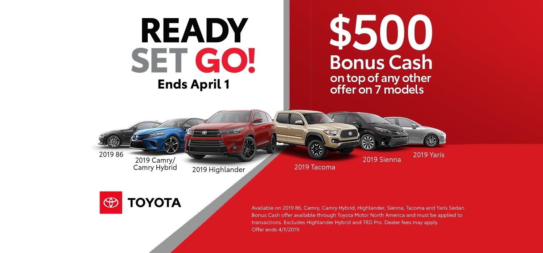 Toyota Bonus Cash on 7 Toyota models
