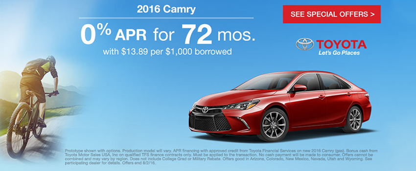 2016 Camry - 0 percent for 72 mos.