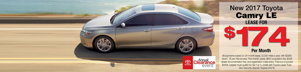 New 2017 Camry Lease Deal at Toyota of Braintree in MA