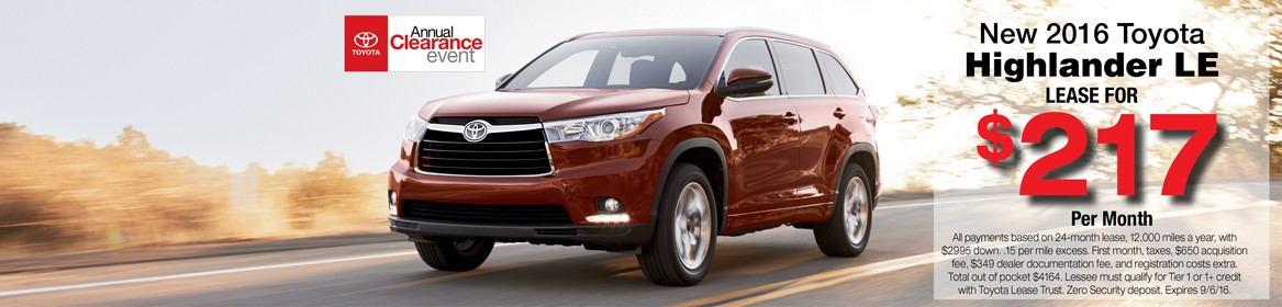 2016 Highlander for lease in Braintree, MA