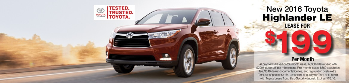Lease deal on a new 2016 Highlander at Toyota of Braintree