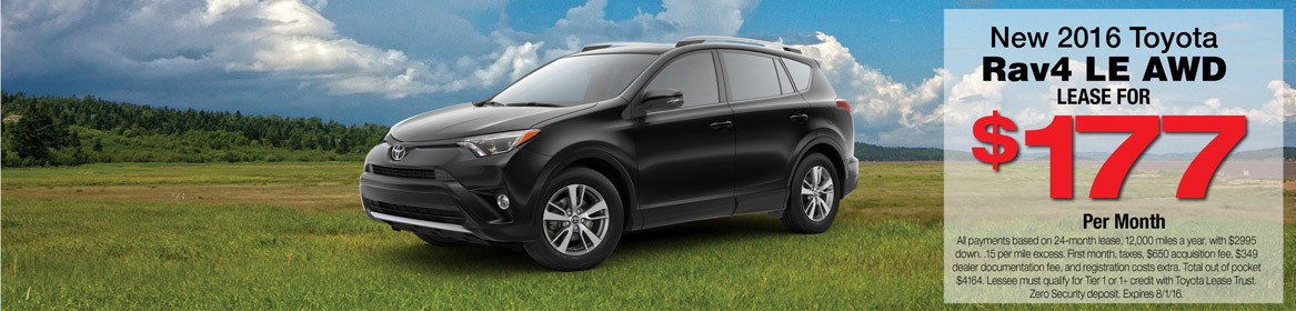 Lease a new 2016 Toyota RAV4 from Toyota of Braintree in MA for just $177 per month