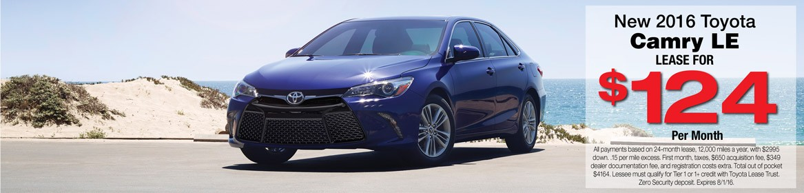 Lease a new 2016 Toyota Camry from Toyota of Braintree in MA for just $124 per month