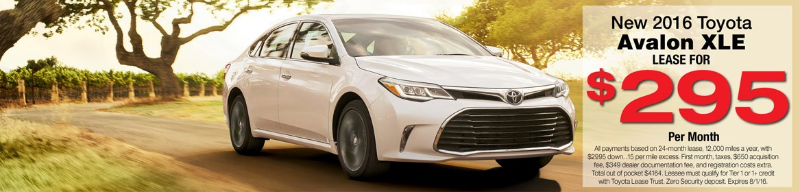 Lease a new 2016 Toyota Avalon from Toyota of Braintree in MA for just $295 per month