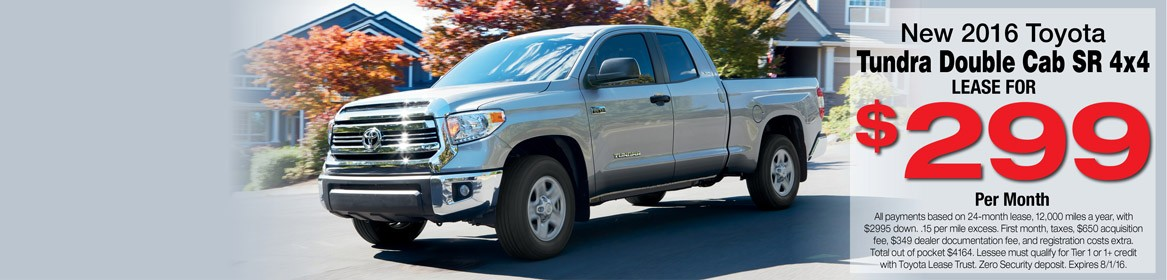 Lease a new 2016 Toyota Tundra from Toyota of Braintree in MA for just $299 per month