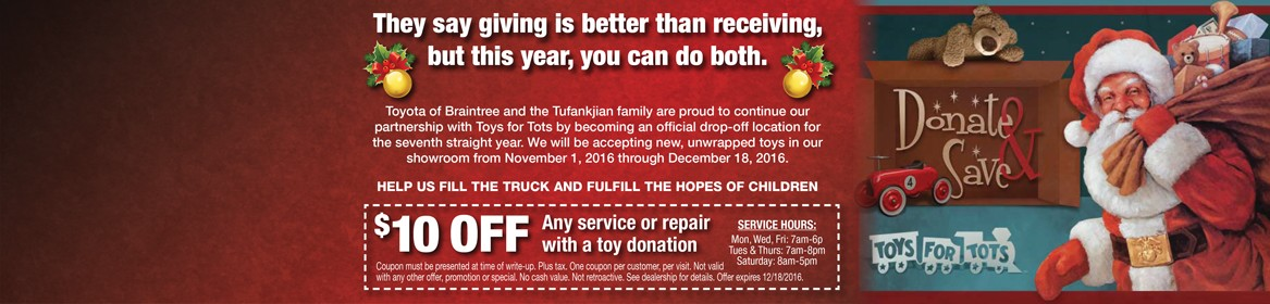 Donate a toy for Toys for Tots & receive $10 off any service or repair