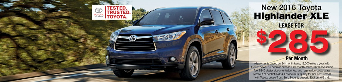 Lease a 2016 Highlander XLE this October for just $285 per month
