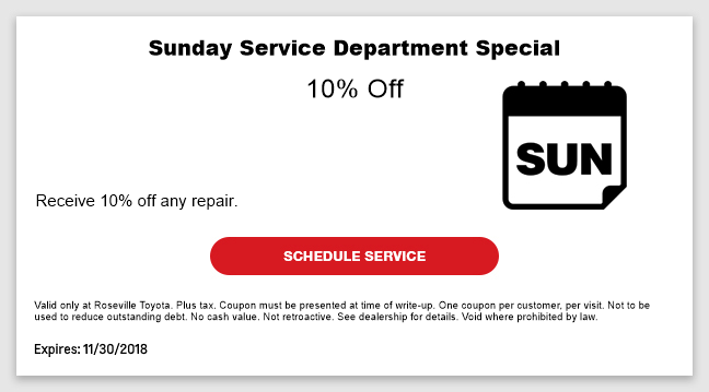 Sunday Service Department Special