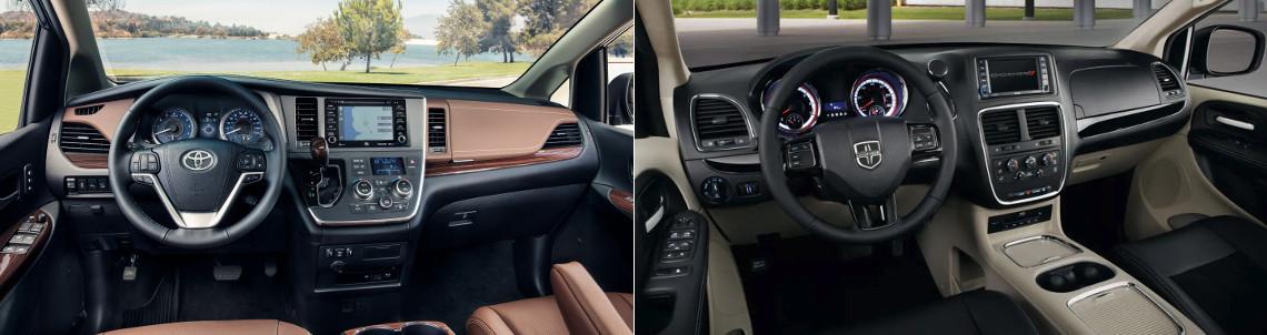 2018 Toyota Sienna and Dodge Grand Caravan Interior