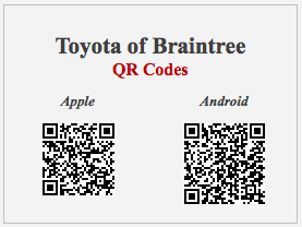 Toyota of Braintree Mobile Application QR Codes