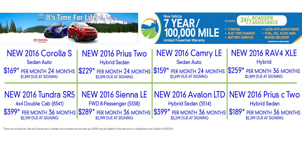 Toyota of Seattle Incentives